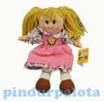 Játékbabák - Rongybabák - Rongybaba rózsaszín ruhában, virágmintás alsó ruhával