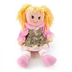 Játékbabák-Rongybabák-Rongybaba zöld virágmintás ruhában rózsaszín alsóruhában