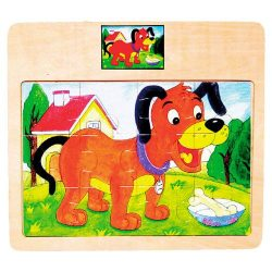 Fa puzzle - Kutyás - Kirakós játék