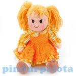 Játékbabák - Rongybaba sárga pöttyös ruhában kockás inggel