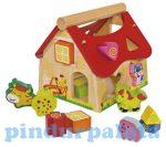 Fejlesztő játékok - Bébi játékok - Formabedobó fa ház Eichhorn