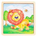 Fa puzzle - Fogantyús oroszlános