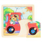 Fa puzzle - Fogantyús autós kirakós játék