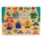 Fa puzzle - Fogantyús lányos lapöltöztető - Kirakós játék