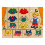 Fa puzzle - Fogantyús fiús lapöltöztető - Kirakós játék