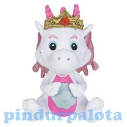 Plüss mesefigurák - Plüss mesehősök - Plüss sárkány Safiras csillogó szárnyú fehér-pink 25cm