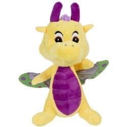 Plüss mesefigurák - Plüss mesehősök - Plüss sárkány Safiras csillogó szárnyú sárga-lila 25cm