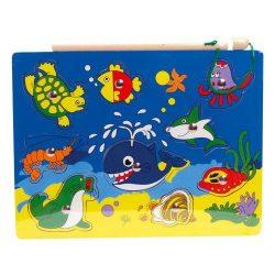 Fa puzzle - Mágneses horgász játék pecabottal