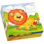 Fa puzzle - Kirakós játékok - Mesekocka 9 db-os (oroszlános)