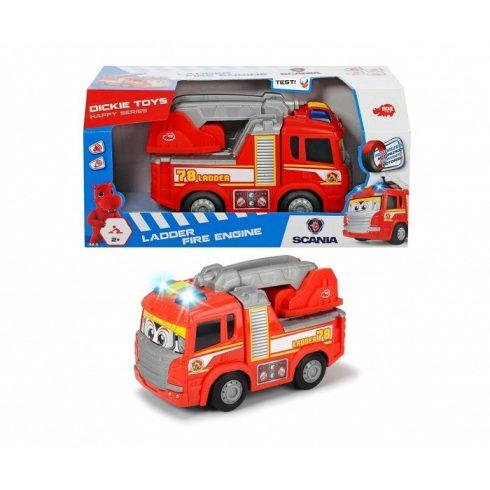 Játék tűzoltóautó  mókás magától gurulós Happy Scania Fire Truck