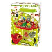 Játék konyhák - Edények - Játék élelmiszerek - Zöldséges pult bevásárló kocsival Ecoiffier