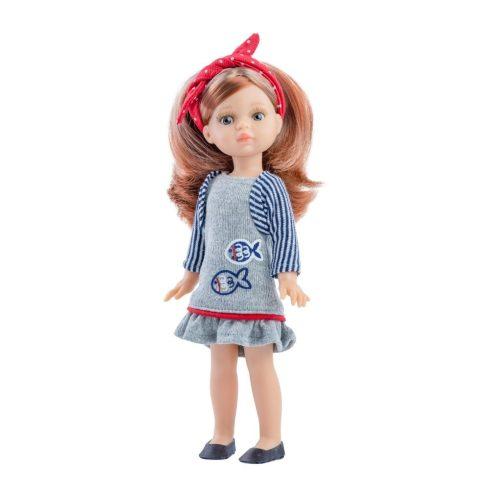 Játékbabák - Játék hajasbaba Paola szürke ruhában 21cm Paola Reina