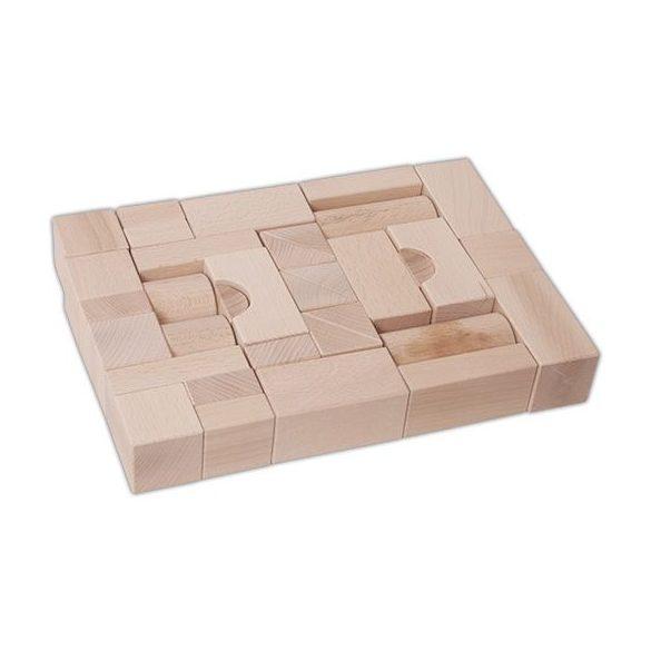 Építőkockák - Natúr fából készült 35 db-os készlet