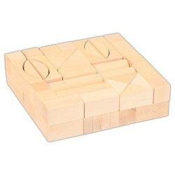 Építőkockák fából - 62 db-os natúr készlet 3 cm-es