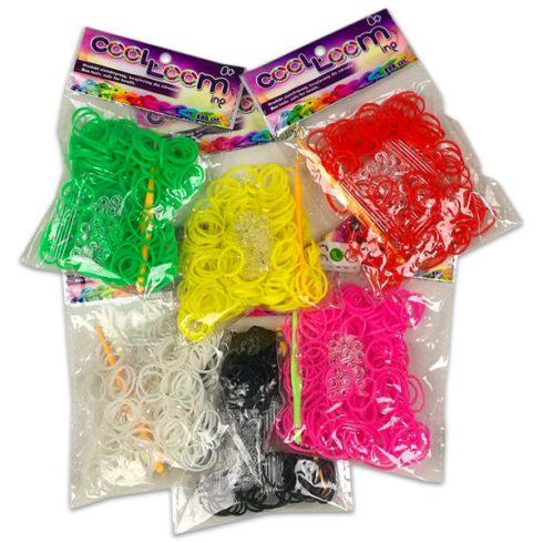 Kreatív készletek - Szilikon gumikarkötő készítő szett 200 darabos - több színben