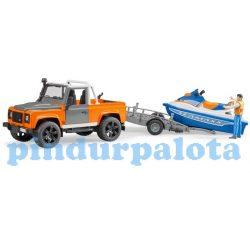 Műanyag járművek - Bruder Land Rover Pick up Jet Ski szállítóval