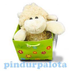Plüssök - Plüss állatok figurák - Plüss bárány virágos tasakban 10 cm