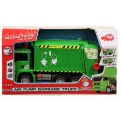 Műanyag járművek - Zöld kukásautó pumpás mechanikával 31 cm