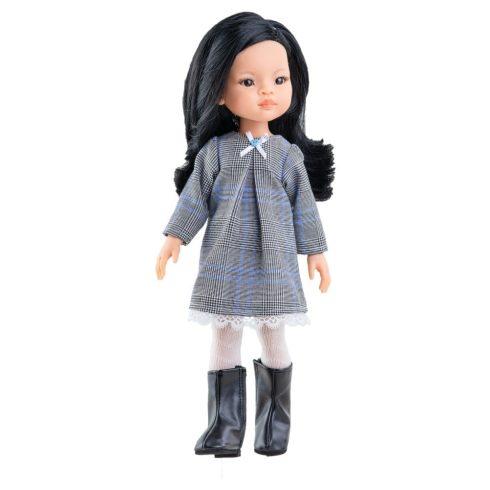 Játékbabák - Játék hajasbaba - Liu szürke ruhában 32 cm - Paola Reina
