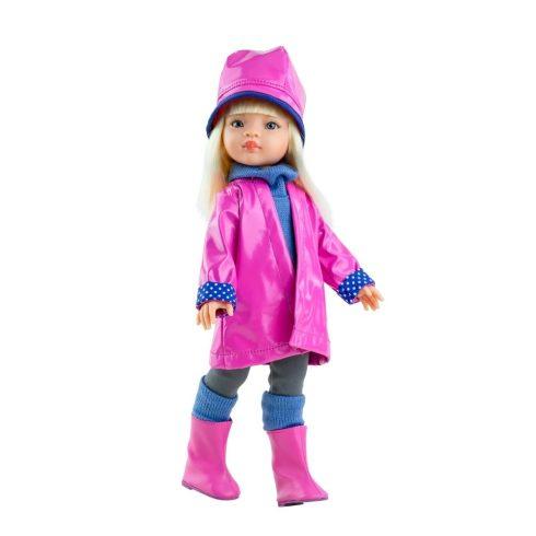 Játékbabák - Játék hajasbaba - Manica - Pink esőkabátban 32 cm - Paola Reina