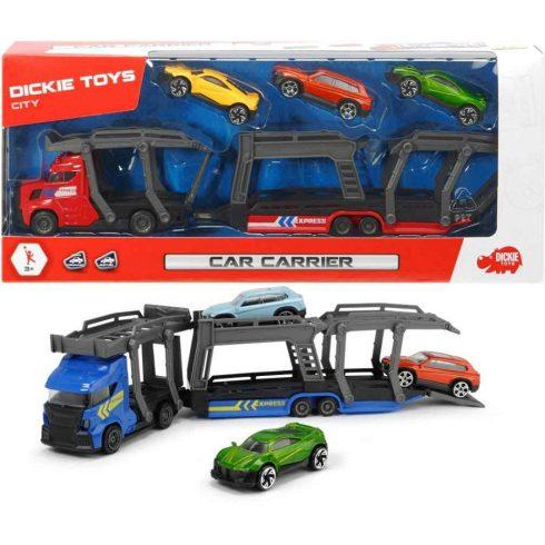 Játékautók - Játék autószállító kamion emeletes 3 kisautóval Dickie Toys