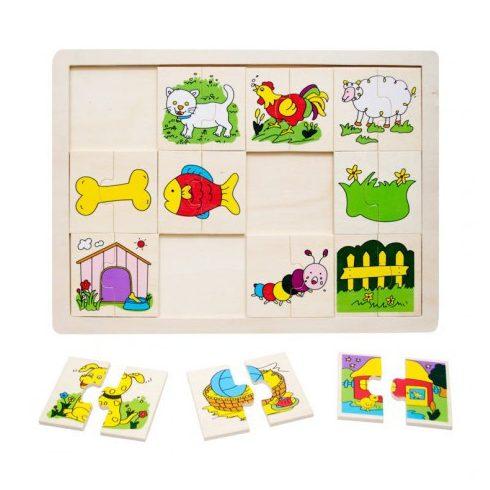 Fa puzzle - Állatos felező