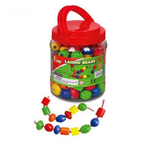 Készségfejlesztő - Fűzős játékok - 90 db fagyöngy dobozban