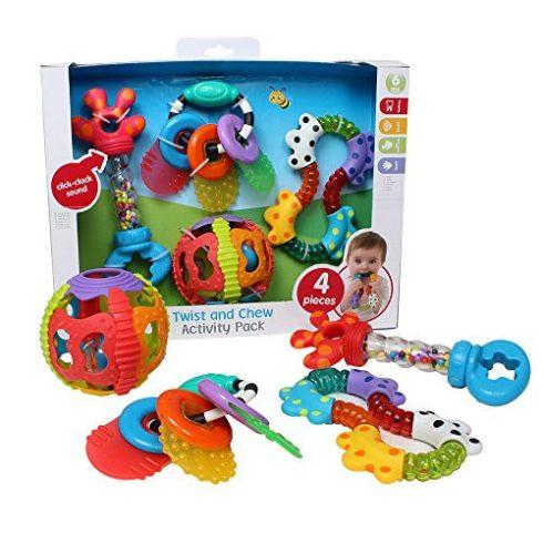 Baba játékok - Playgro Baba váró ajándék játék készlet csörgővel, rágókával