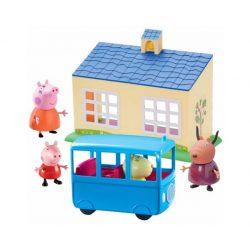 Mese figurák - Mese szereplők - Peppa iskola és busz játékszett