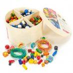 Fűzős játékok gyerekeknek - Gyöngyfűző kerek dobozos (nagy)