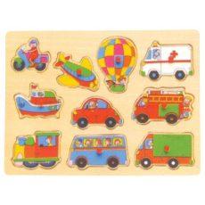 Fa puzzle - Fogantyús motoros, járműves