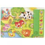 Fa puzzle - Fogantyús kakasos - Hangot adó kirakós játék