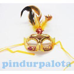 Farsangi és karneváli jelmezek - Velencei álarc feles tollas arany