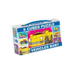 Gyerek Puzzle - Kirakósok - Mini mesekocka 6 db járművek