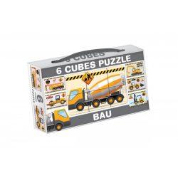 Gyerek Puzzle - Kirakósok - Mini mesekocka 6 db munkagépek