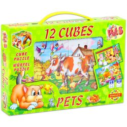 Gyerek Puzzle - Kirakósok - Mesekocka háziállatok 12db