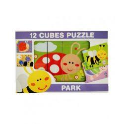 Gyerek Puzzle - Kirakósok - Mesekocka park állatai 12 db