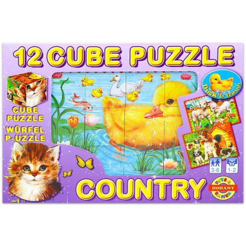 Gyerek Puzzle - Kirakósok - Mesekocka tanyasi állatok 12 db