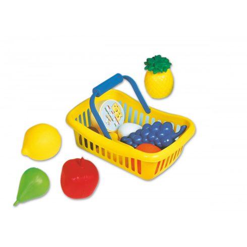 Főzőcskés bevásárlós játékok - Műanyag élelmiszerek kosárban