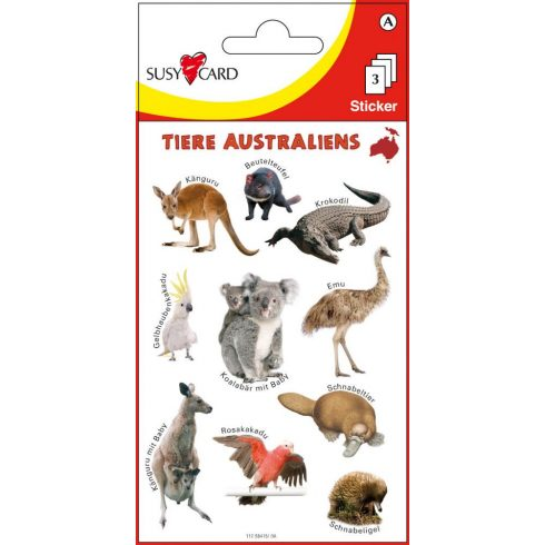 Írószerek - Iskolaszerek - Matricák - Ausztrália állatai