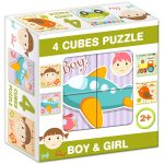 Puzzle kirakók - Mesekocka lány és fiú 4 puzzle