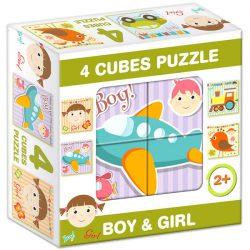 Gyerek Puzzle - Kirakósok - Mesekocka lány és fiú 4 puzzle