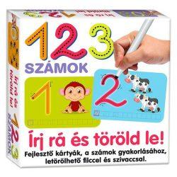 Fejlesztő kártyák - Írj rá és töröld le 1 2 3 számok