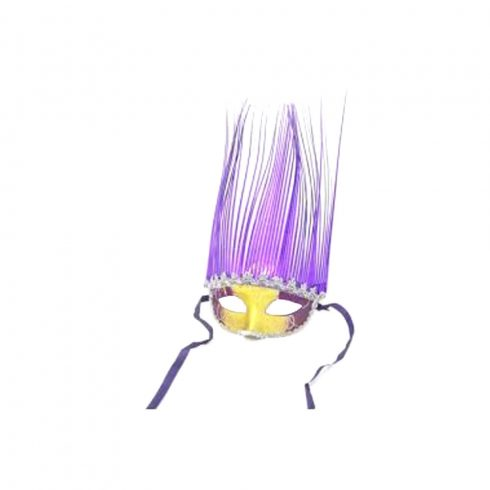 Jelmezek - Jelmez kiegészítők - Velencei álarc fóliás lila-arany színben