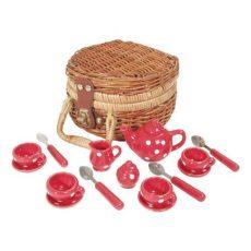 17 db-os porcelán teáskészlet kosárban (piros) - Teadélután