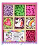 Fűzős játékok gyerekeknek - Gyöngyök - Fa golyók - BEAD BAZAAR Mini gyöngykészlet fa dobozban Vidám
