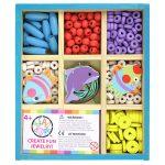 Fűzős játékok gyerekeknek - Gyöngyök -  BEAD BAZAAR Mini gyöngykészlet fa dobozban Vízi kaland