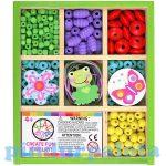 Fűzős játékok gyerekeknek - Gyöngyök -  BEAD BAZAAR Mini gyöngykészlet fa dobozban, Zöld kaland