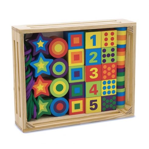 Melissa & Doug Fa készségfejlesztő játék, Fűzős gyöngyök dobozban