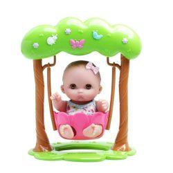 Élethű játékbabák - Élethű Berenguer babák - Mimi játékbaba masnival, hintában, 21cm
